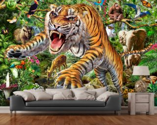 Tiger and Wildlife wall mural