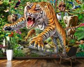 Tiger and Wildlife wall mural kitchen preview