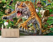 Tiger and Wildlife wall mural living room preview