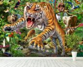 Tiger and Wildlife wall mural in-room view
