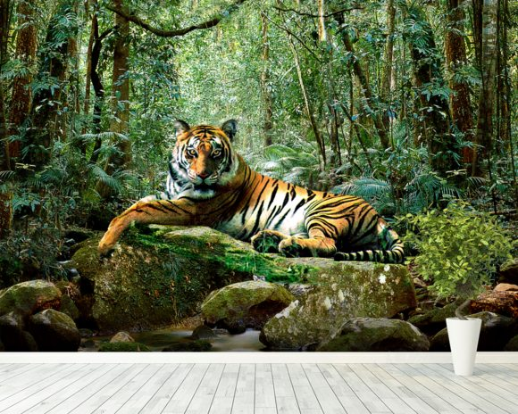 Tiger in Jungle wallpaper mural room setting