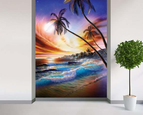 Tropical Beach mural wallpaper room setting