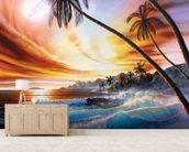 Tropical Beach mural wallpaper living room preview