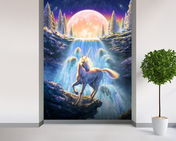 Unicorn Sunset Wall Mural Unicorn Sunset Wallpaper Wallsauce UK