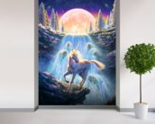 Unicorn Sunset wall mural in-room view