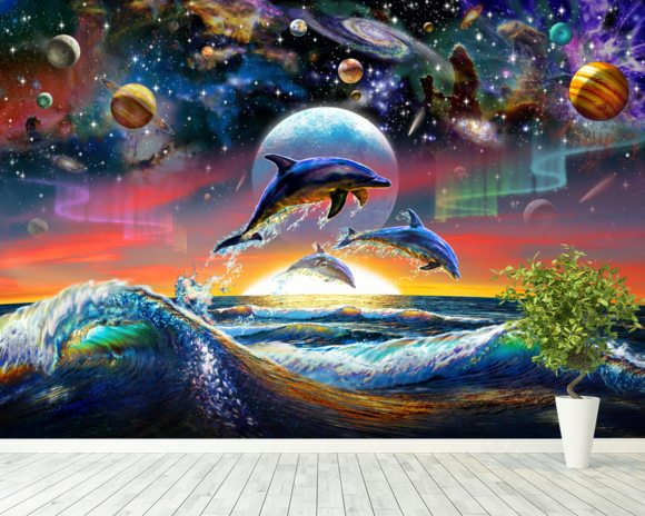 Universal Dolphins Wallpaper Mural Room Setting