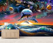 Universal Dolphins wallpaper mural living room preview