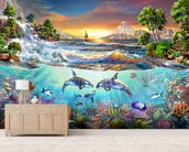 Valhala Dawn mural wallpaper living room preview