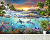 Valhala Dawn mural wallpaper in-room view