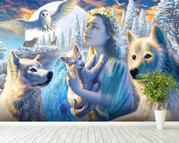 Spirit of the Mountain wall mural room setting