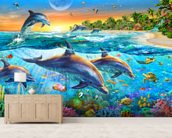 Dolphin Bay wallpaper mural living room preview