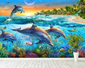 Dolphin Bay wallpaper mural in-room view