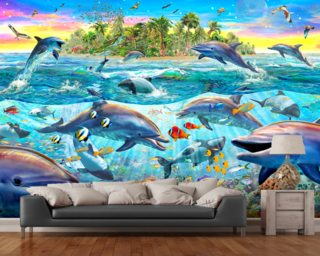 Dolphin Reef mural wallpaper