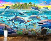 Dolphin Reef mural wallpaper kitchen preview