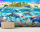 Dolphin Reef mural wallpaper living room preview