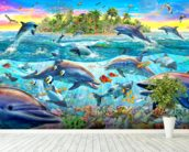 Dolphin Reef mural wallpaper in-room view