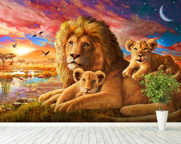 Lion Sunrise wallpaper mural room setting