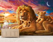 Lion Sunrise wallpaper mural living room preview