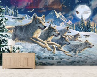 Moonlight Wolfpack mural wallpaper