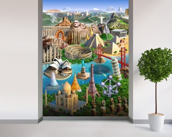 Wonders Of The World wall mural room setting