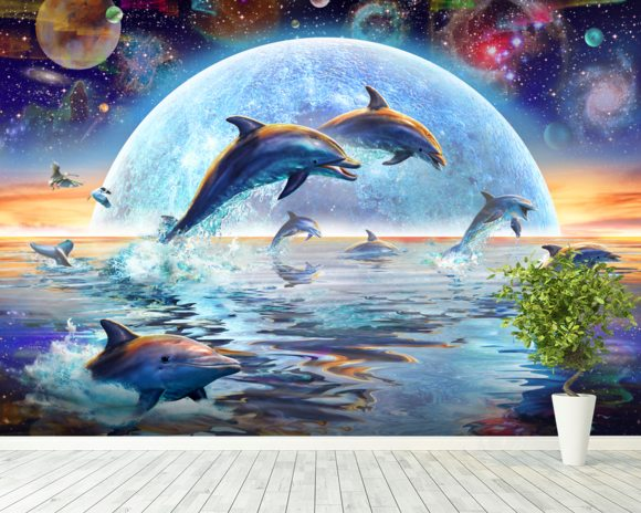 Dolphins by Moonlight wallpaper mural room setting