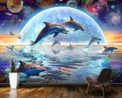 Dolphins by Moonlight wallpaper mural kitchen preview