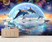 Dolphins by Moonlight wallpaper mural living room preview