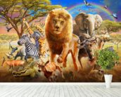 African Stampede wall mural in-room view