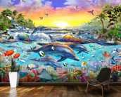 Tropical Cove mural wallpaper kitchen preview