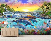 Tropical Cove mural wallpaper living room preview