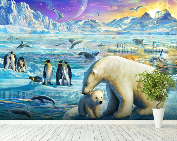 Arctic Sundown wall mural room setting