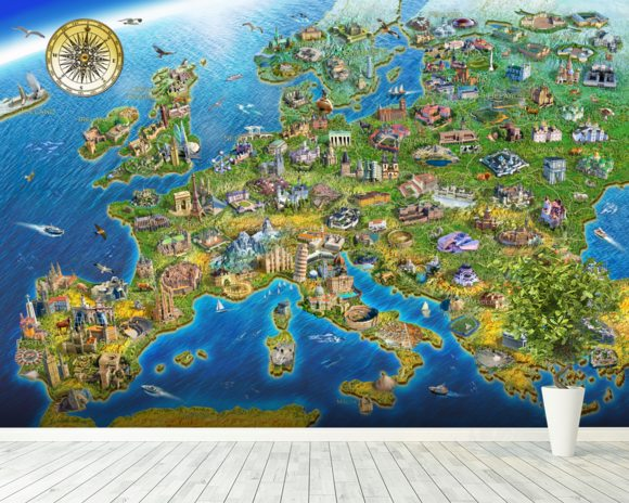 European Landmarks mural wallpaper room setting