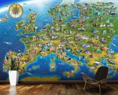 European Landmarks mural wallpaper kitchen preview