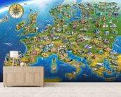 European Landmarks mural wallpaper living room preview