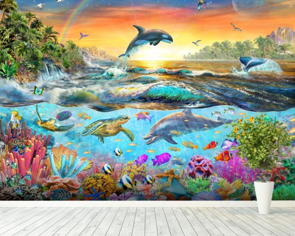 Tropical Paradise wall mural room setting