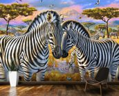 Loving Zebras wallpaper mural kitchen preview