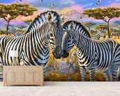 Loving Zebras wallpaper mural living room preview