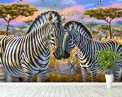Loving Zebras wallpaper mural in-room view