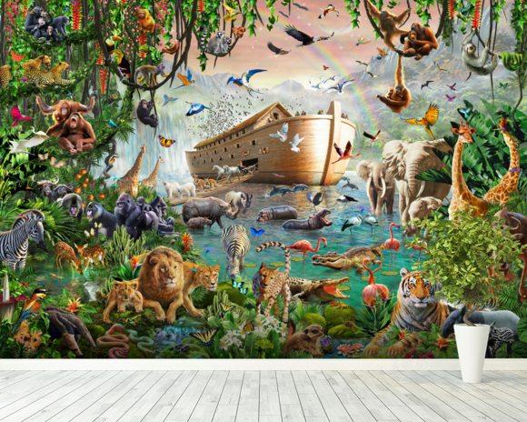Noahs Ark Jumbo Wall Mural Noahs Ark Jumbo Wallpaper Wallsauce USA