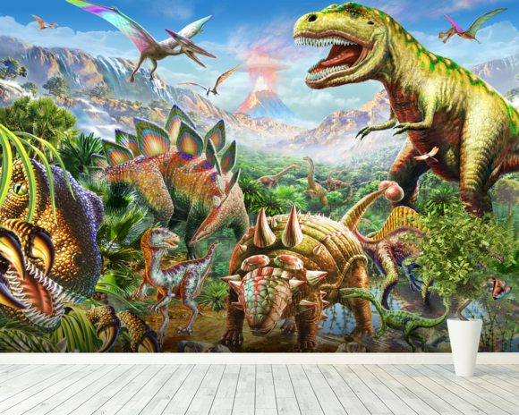 Dino group wall mural dino group wallpaper wallsauce for Dinosaur wall mural uk
