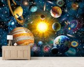 Our Solar System wallpaper mural living room preview