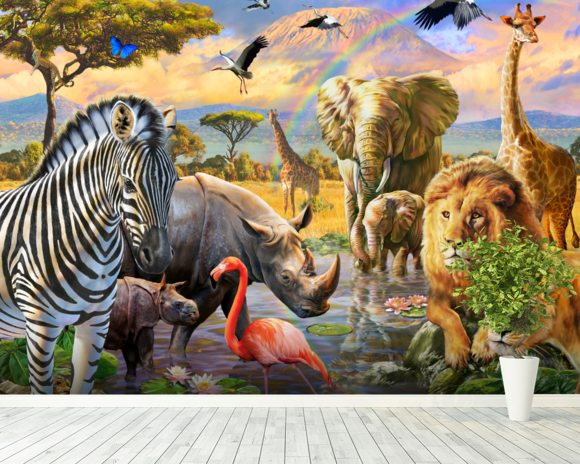 Savanna Watering Hole mural wallpaper room setting