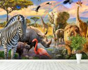 Savanna Watering Hole mural wallpaper in-room view