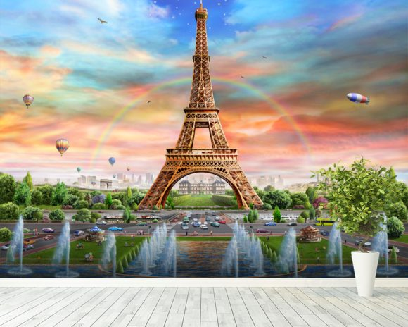 Eiffel Tower Wall Mural Eiffel Tower Wallpaper Wallsauce UK
