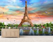 Eiffel Tower wallpaper mural living room preview