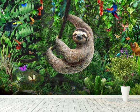 Sloth in Jungle mural wallpaper room setting