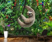 Sloth in Jungle mural wallpaper kitchen preview