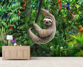 Sloth in Jungle mural wallpaper living room preview