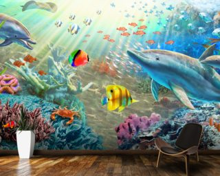Land and Water Utopia wall mural