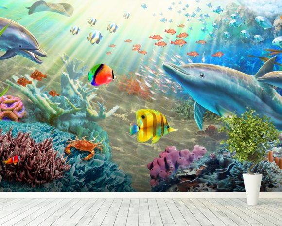 Land and Water Utopia wall mural room setting